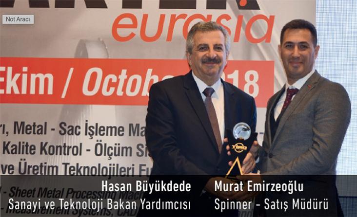 Maktek Avrasya 2018 Fuarında, Makine Sektörünün önde gelen şirketleri arasında yer alan Spinner Takım Tezgahları, Takım tezgahlarında 'INOVASYON' ödülünü, Sanayii ve Teknoloji Bakanı Yardımcısı Hasan Büyükdede tarafından almıştır.